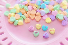 heart-shaped sweets with affectionate words