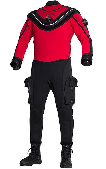 Picture of red and black Aqua Lung drysuit