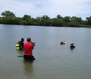 Rescue diver students practicing skills on the surface