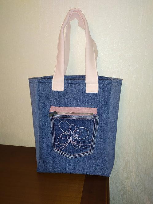 Mini sac en jean poche rose