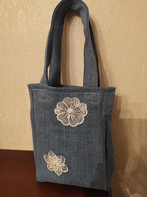 Mini sac en jeans dentelle