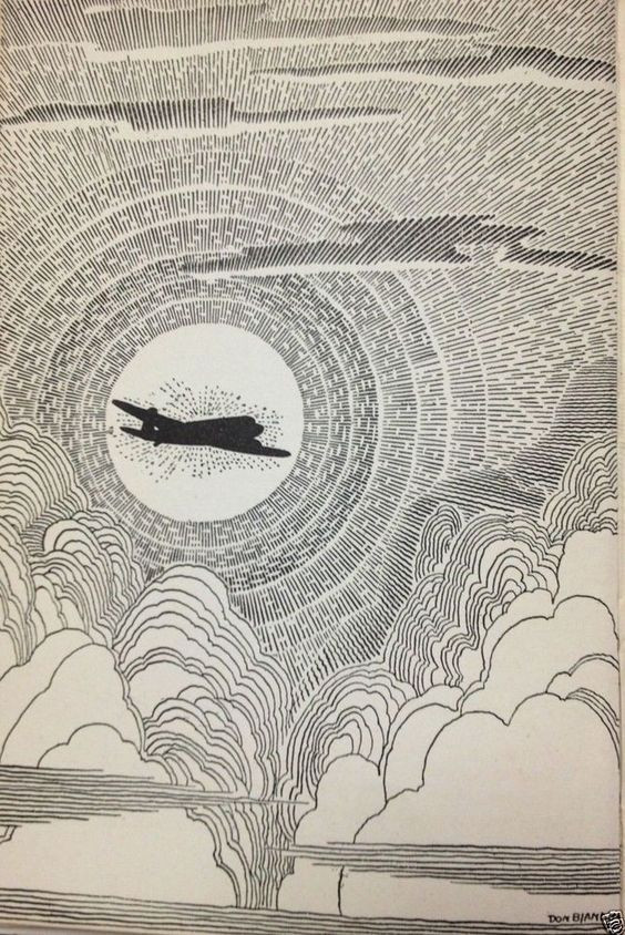 """Don Blanding's 1943 """"Airplane in Clouds-God's-Eye View"""""""