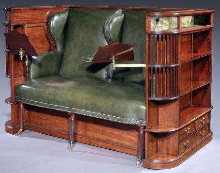Meuble 'Canapé Bibliothèque' - Acajou et Cuir - Charles Hindley & Co - Londres - Vers 1890