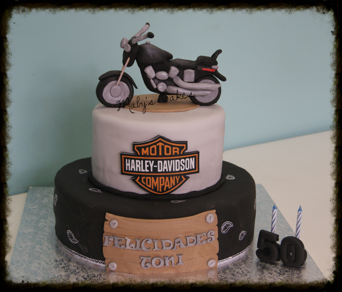 Tarta Harley       Sabadell Terrassa fondant tarta personalizada Harley davidson_edited