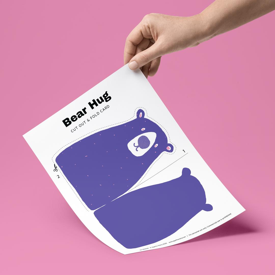 Free Bear Hug Printable card by Agatha Vieira