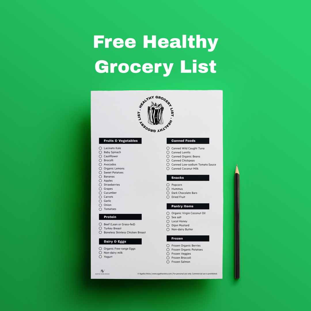 Free Printable Healthy Grocery List by Agatha Vieira