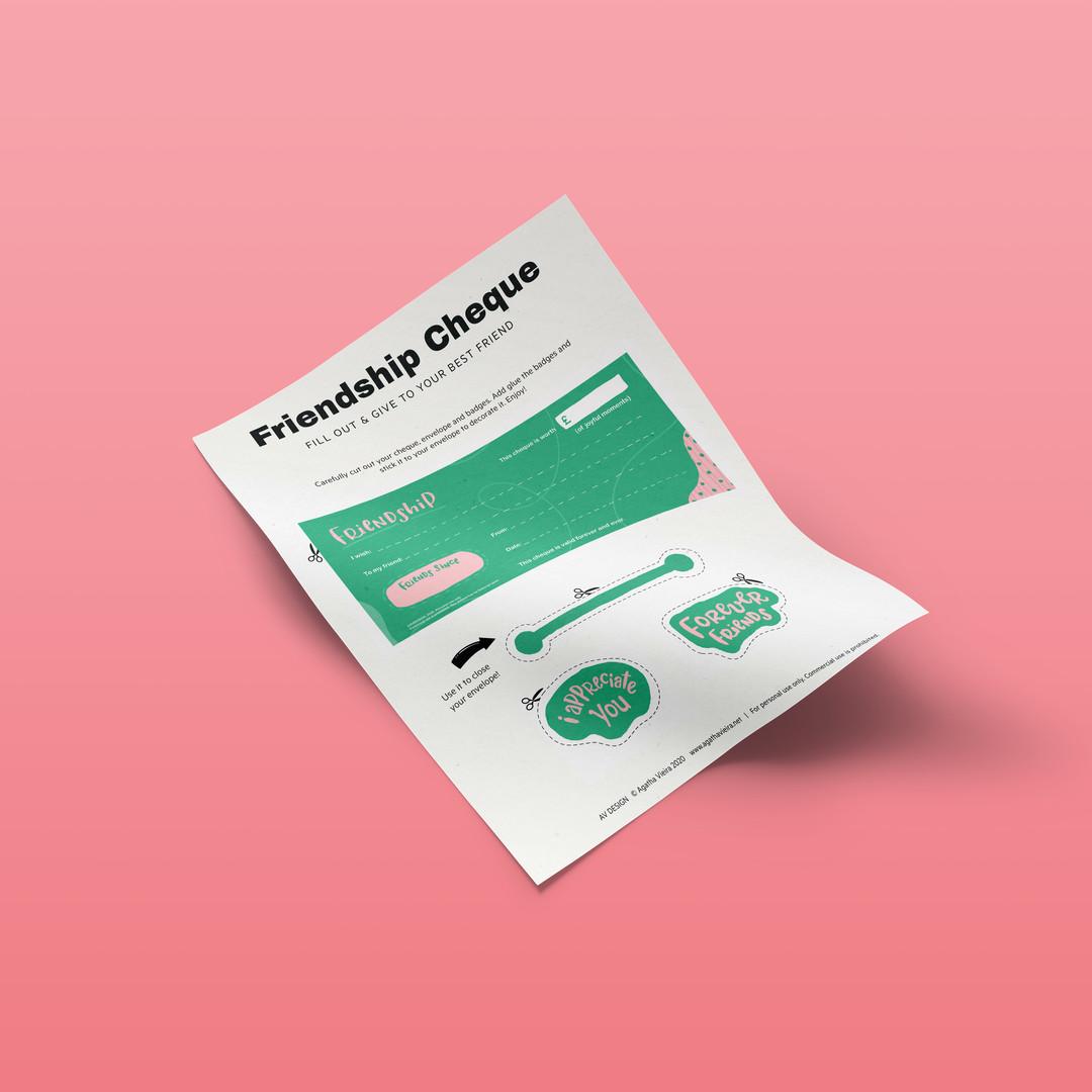 Free Printable Friendship Cheque for Kids by Agatha Vieira