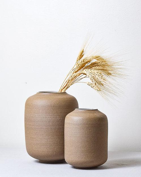 lantern vase in brown stoneware