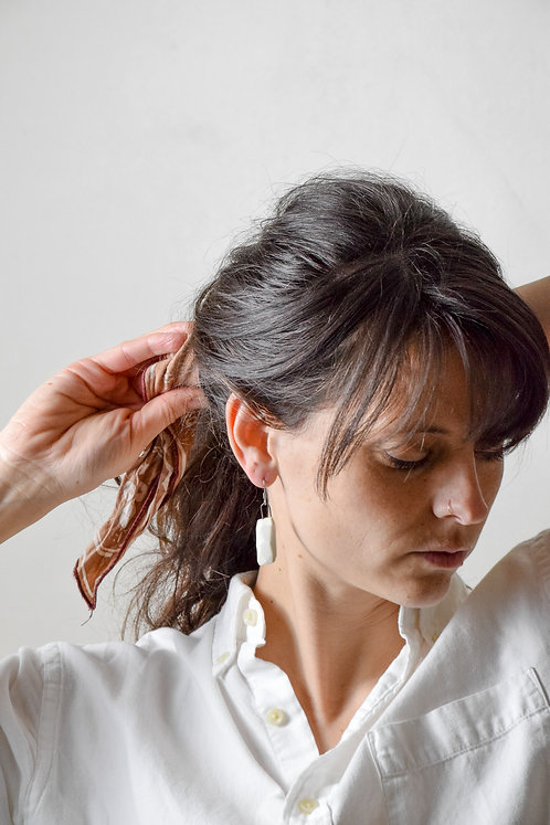 white obsidian earring