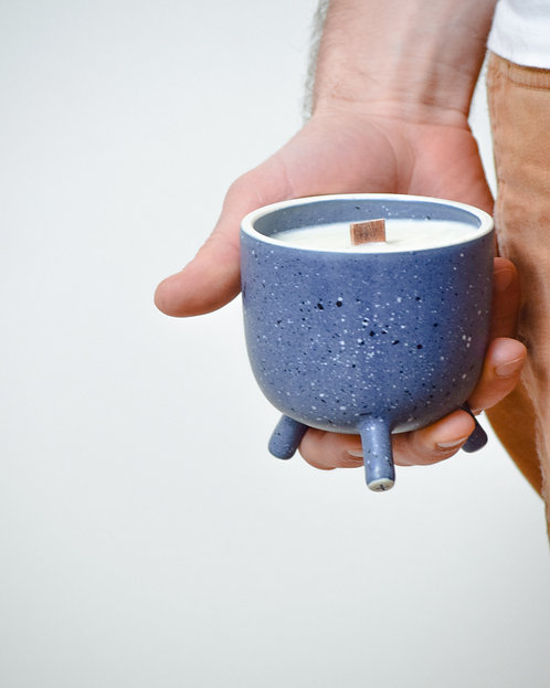 stone blue peg-leg candle