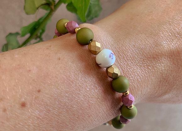 Boho Bracelet - Green, Gold, Pink