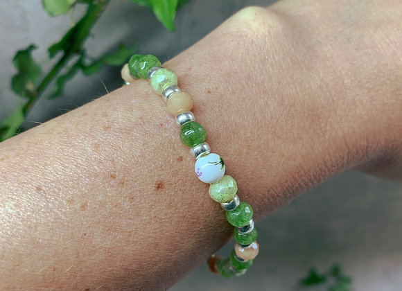 Boho Bracelet - Green, Peach, Silver