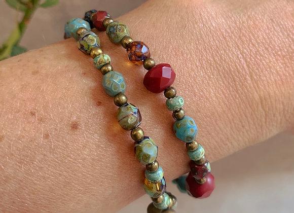 Boho Bracelet - Blue, Bronze, Red, Heart pendant