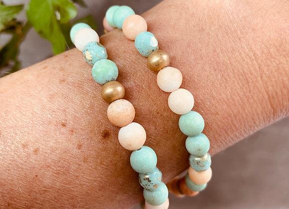 Boho Bracelet - Gold, Turquoise, Peach