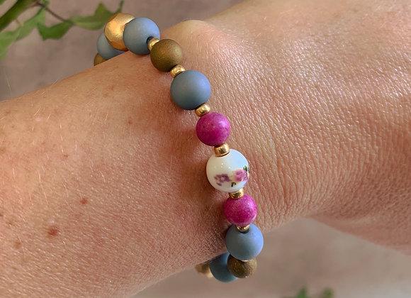 Boho Bracelet - Blue, Bronze, Gold, Cerise