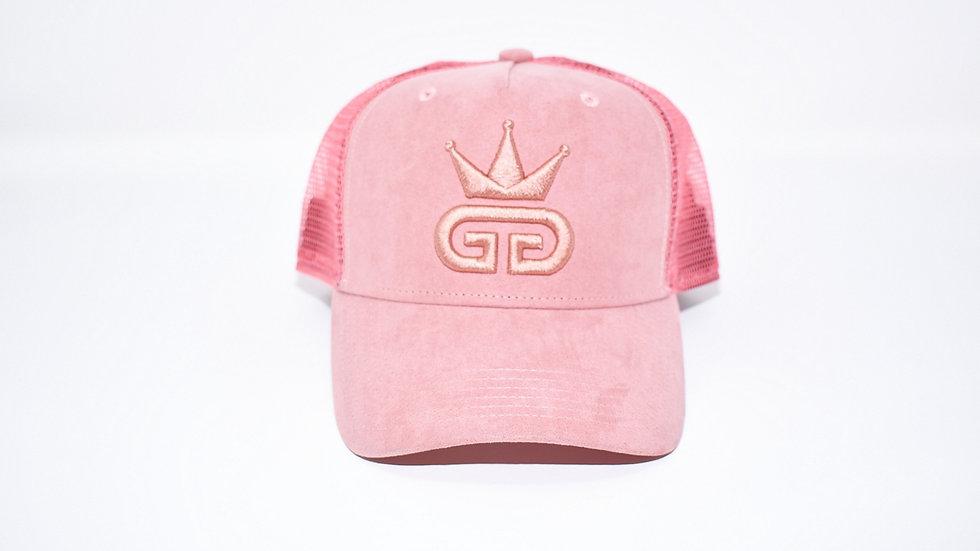 GGT Pastel Pink Suede Mesh Snapback - All Pink Logo