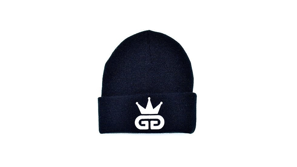 GGT Black Woolly Hat - All White  Logo