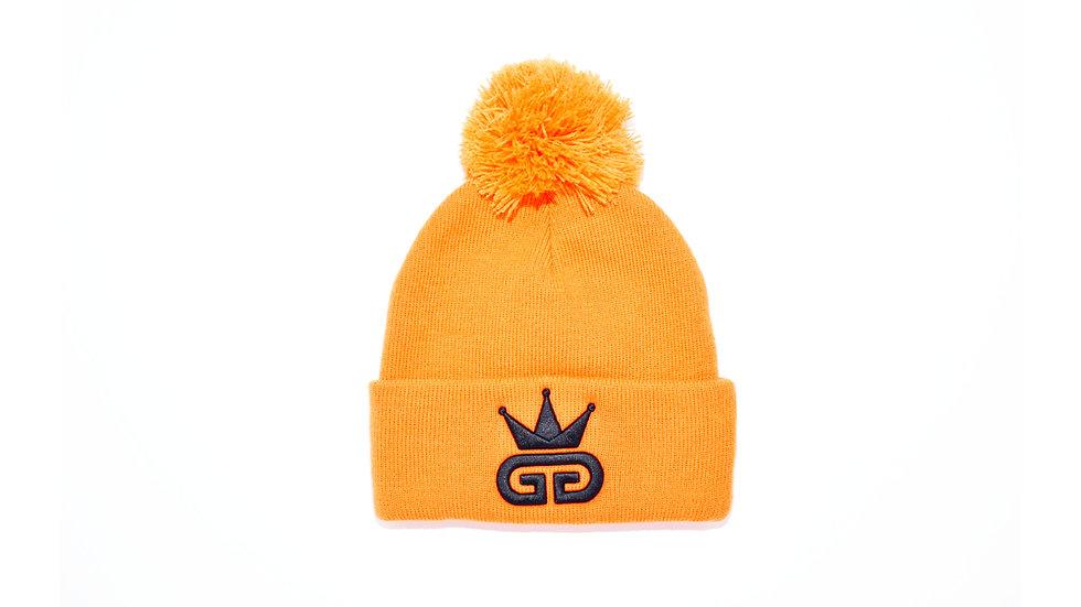 GGT Royal Orange Bobble Woolly Hat - All  Black Logo