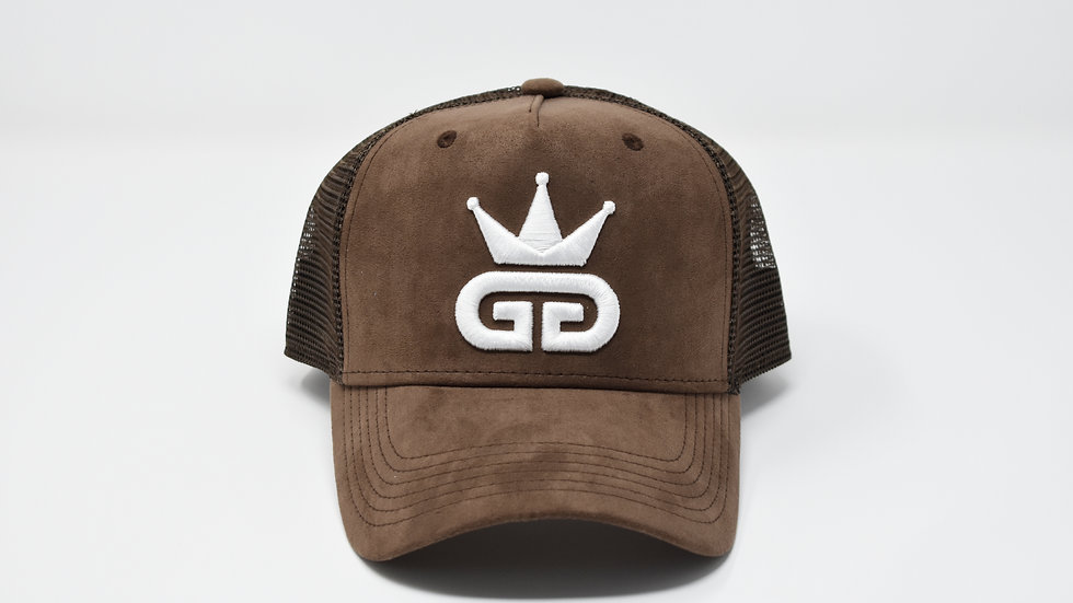 GGT Cognac Brown Suede Mesh Snapback - All White Logo