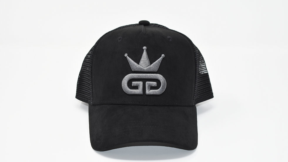GGT Midnight Black Suede Mesh Snapback - All Charcoal Grey Logo
