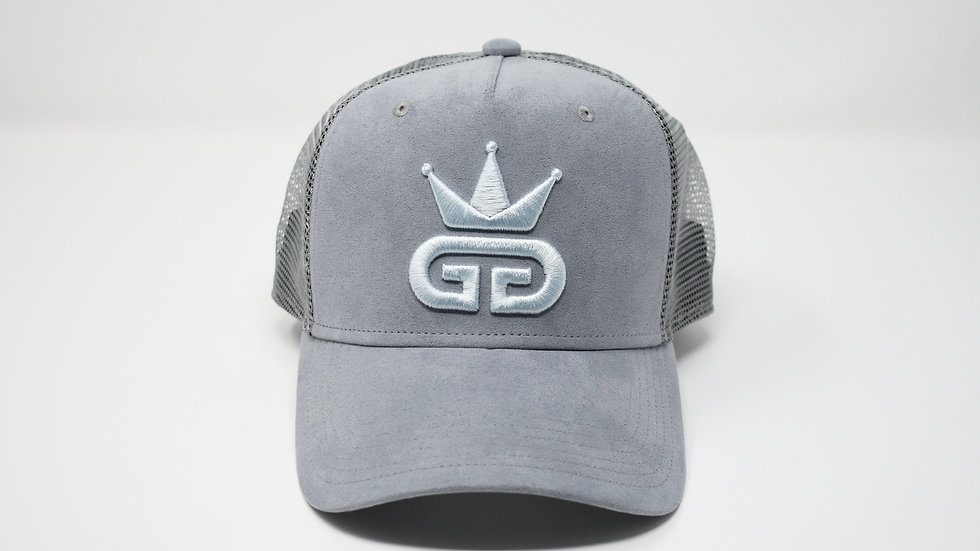 GGT Ice Grey Suede Mesh Snapback - All Sky Blue Logo