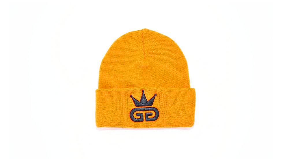 GGT Royal Orange Woolly Hat - All  Black Logo