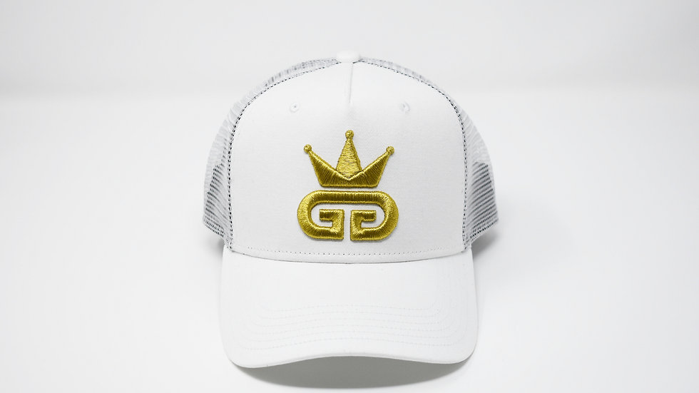 GGT Snow White Mesh Snapback - All Gold Logo