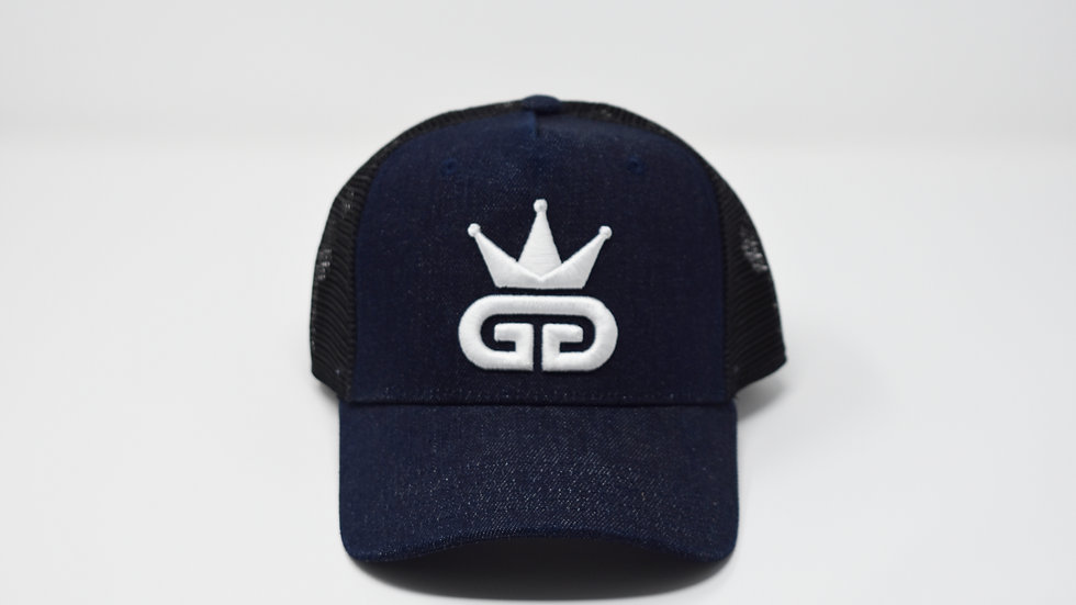GGT Pacific Blue Denim Mesh Snapback - All White Logo