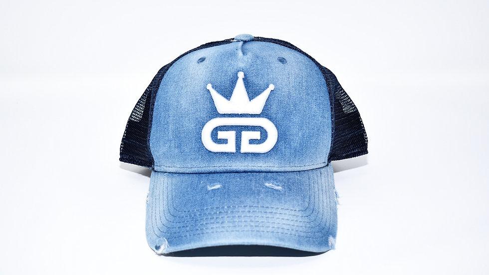 GGT Acid Wash Distressed Denim Mesh Snapback - All White Logo