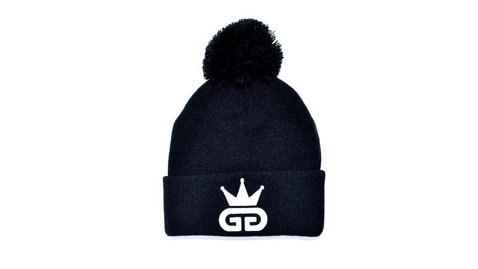 GGT Black Bobble Woolly Hat - All White  Logo