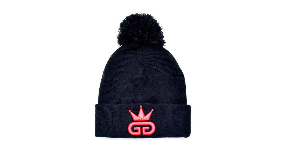 GGT Black Bobble Woolly Hat - All Red Logo
