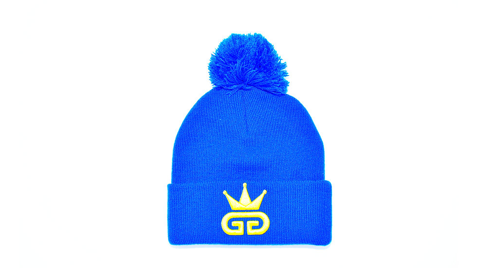 GGT Egyptian Blue Bobble Woolly Hat - All Yellow Logo