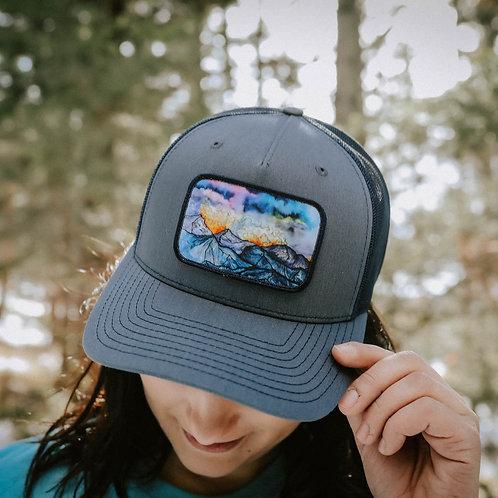 Mountain Watercolor Unisex Trucker Hat - Navy
