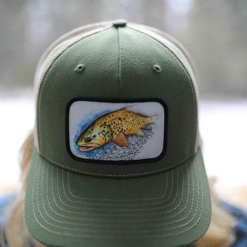 Fish Trucker Unisex Hat - Olive Green