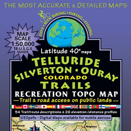 Latitude 40 Telluride, Silverton, Ouray Colorado Map