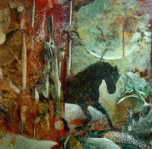 collage and relief print by FL artist Carolyn Land