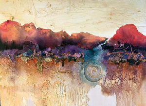 The Beauty Within 16x20. Textural art by Carolyn Land