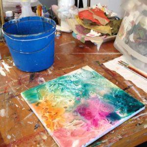 work table of FL artist Carolyn Land