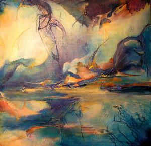 Mixed media painting by FL artist Carolyn land