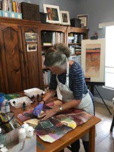 FL artist Carolyn Land in the studio