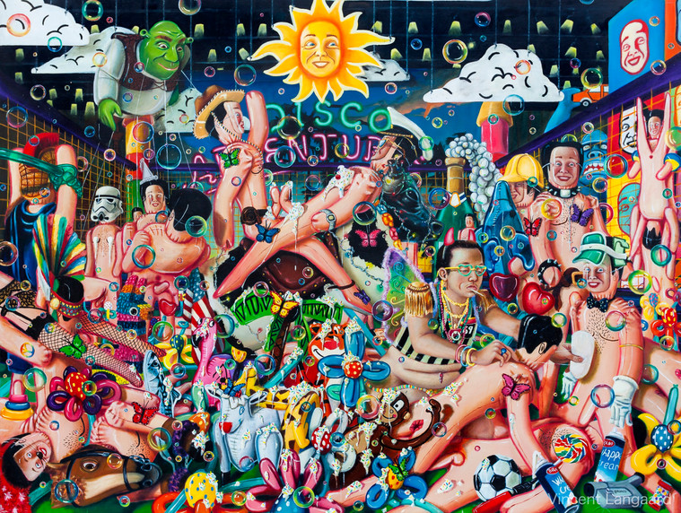 """""""Football Porn"""" Oil on Canvas  W:240cm H:184cm 2016  """"If we conceive aesthetics as what indiscriminately insure pleasurable cognitive stimuli, then even the apex of basal appeals must necessarily be recognised as the purest source of said quality""""  Click icon in top left corner for full size view."""