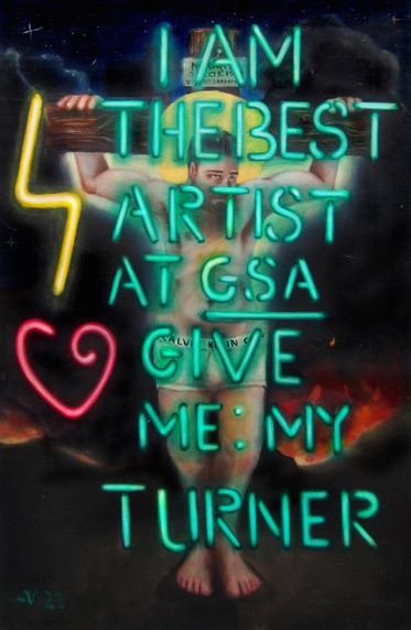 """""""Give Me My Turner"""" Oil on Canvas W:121cm H:182cm 2015  """"Why strive to be recognised by award institutions when their election procedures are motivated by political tokenism rather than genuine appreciation for artistic merit?""""  Click icon in top left corner for full size view."""