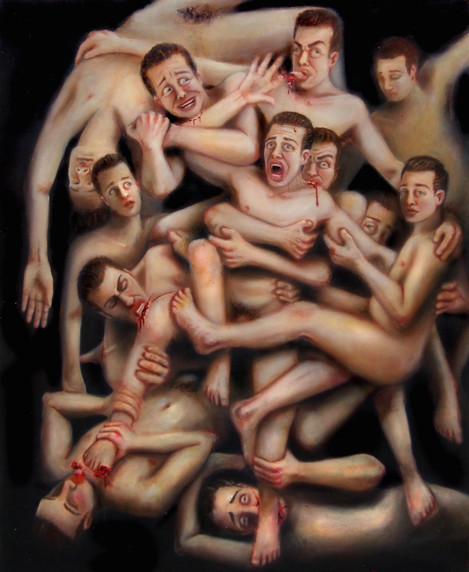 """""""Internal Auto Cannibal"""" Oil on Canvas  W:165cm H:205cm 2015  """"Be careful with moralist obsessions, they may be beneficial for everyone but the practitioner.""""  Click icon in top left corner for full size view."""