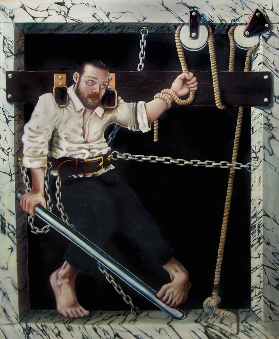 """Autogenous Penitentiary"" Oil on Canvas  W:161cm H:190cm 2015  ""I once dreamt I was a prisoner in an absurd penitentiary system that due to budget cuts had to be maintained by the prisoners themselves.""  Click icon in top left corner for full size view."