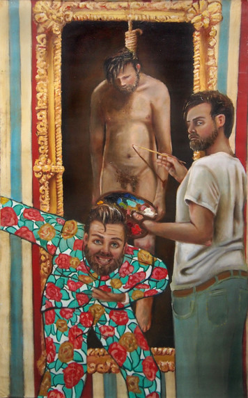 """""""Artist Trinity"""" Oil on Canvas  W:130cm H:210cm 2015  """"The ternary self hate a moralist artist has to endure.""""  Click icon in top left corner for full size view."""