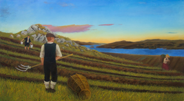 """""""Working the Croft"""" Oil on Canvas Completed Dec. 2018"""