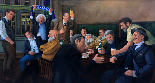 """""""Norwegian Authors"""" Oil on Canvas 100x200cm Completed Sep. 2019."""