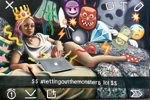 """""""Lettingoutthemonsters"""" Oil on Canvas  160x100cm Completed 2016."""