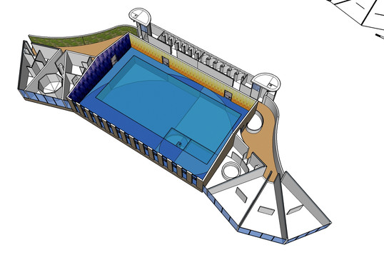Swimmingpool Wellness 3D plan