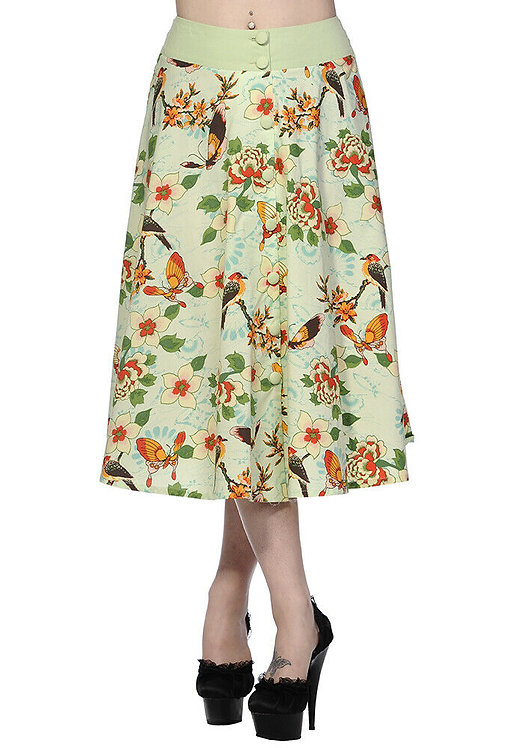 Retro Pastel Green Birds & Butterflies Midi Skirt